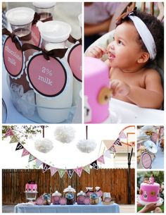 Pink & Brown, cookies and milk bar for 1st bday party. DEFINATELY doing this for lol miss!!