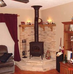 Wood Stove Design Ideas 1000 images about rehab hearth ideas on pinterest wood stoves corner wood stove and hearth Corner Woodstove Stove Corner Woodstove Fireplace Wood Stove Hearth Wood Burner Fireplace Design Fireplace Ideas Fuel Burners Nathans House