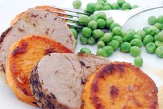 Herb crusted pork tenderloin with sweet potatoes and spicy maple butter.