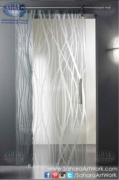 Acid Etched Glass Doors by Vitrealspecchi. I don't think I've ever seen a glass door hung as a barn door before. This would last one week tops, in my house before becoming a million little cubes of glass on the floor. Sliding French Doors, Sliding Door Design, Sliding Glass Door, Glass Doors, Double Doors, Window In Shower, Shower Doors, Etched Glass Door, Minimalist House Design