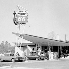 """""""Our name and logo go back to 1927 and a historic highway – Route Full Service Gas Station, Gas Service, Chevron Gas, Phillips 66, Old Gas Stations, Filling Station, Gas Pumps, Car Pictures, Car Pics"""