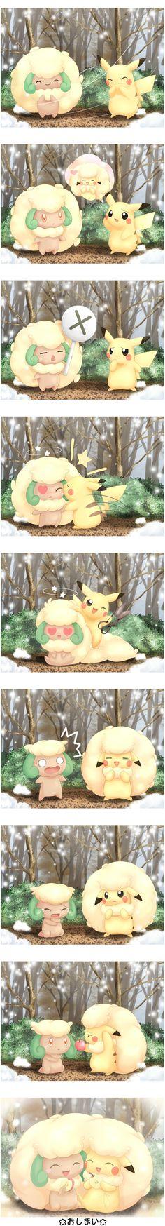 Pikachu, Whimsicott (by Pemyu, Pixiv Id 89488)