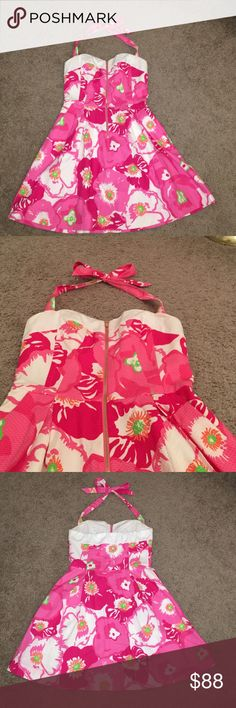 Lilly Pulitzer halter dress Only worn once! Has adjustable halter strap! Lilly Pulitzer Dresses Mini