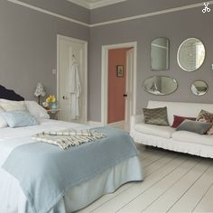 Dulux: Potters clay 2 & pure brilliant white, like these colors.