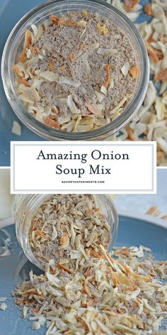 Onion Soup Mix is so easy that chances are you already have all the ingredients!… Onion Soup Mix is so easy that chances are you already have all the ingredients! This recipe even makes a bit more than one store bought onion soup packet! Homemade Onion Soup Mix, Homemade Dry Mixes, Homemade Spices, Homemade Seasonings, Homemade Spice Blends, Homemade Recipe, Homemade Food, Dry Soup Mix, Soup Mixes