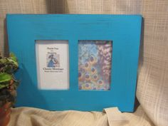 Picture Frame, Holds Two 4'' x 6'' photos,  Photo Frame,  Cottage Chic, Beach Cottage, Distressed Turqouise,  Photo Display by ClassicMontage on Etsy