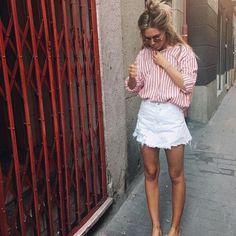 Striped blouse White denim skirt Rose gold sunnies #summerstyle #currentlywearing #lookoftheday #todaysdetails #getthelook
