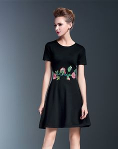 Shop Black Flowers Embroidered A-Line Dress online. SheIn offers Black  Flowers Embroidered A-Line Dress & more to fit your fashionable needs.