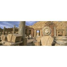 Close-up of a statue in an old ruined building Leptis Magna Libya Canvas Art - Panoramic Images (18 x 7)