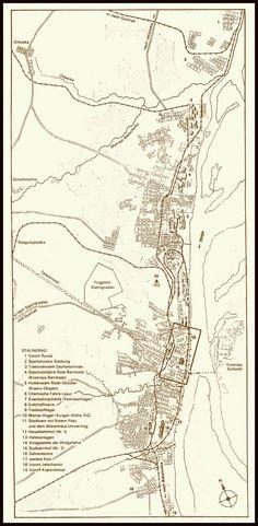 Stalingrad map (German). Weil der Truppe kein detailliertes Kartenmaterial über die Stadt zur Verfügung stand, wurden eigene Stadtpläne erstellt. Die Umsetzung erfolgte anhand von Luftaufnahmen.