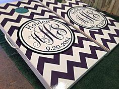 Custom Chevron Monogram Cornhole Board Sets by WGCornhole on Etsy, $215.00