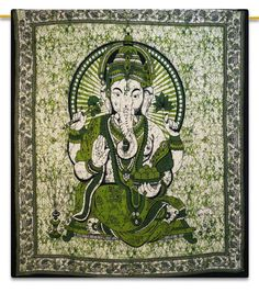 Bedspreads – LORD GANESH WALL TAPESTRY HANGING DORM GREE YOGA M – a unique product by INDIANTRADITIONAL on DaWanda