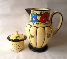 RARE Antique Ditmar Urbach bright yellow pottery teapot with  enamelled relief decorations  by SoVintastic, €100.00