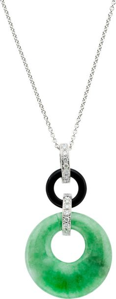 Jadeite Jade, Black Onyx, Diamond, White Gold Necklace, Eli Frei  The necklace features carved jadeite jade and carved black onyx bi, enhanced by full-cut diamonds weighing a total of 0.33 carat, set in 18k white gold, completed by an 18k white gold chain, marked Frei