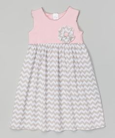 Another great find on #zulily! Gray & Pink Zigzag Babydoll Dress - Infant, Toddler & Girls by Beehave #zulilyfinds