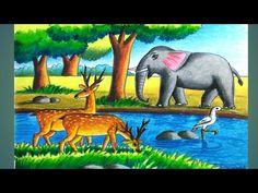 Scenery Paintings, Oil Pastel Paintings, Oil Pastel Art, Oil Pastel Drawings, Oil Pastels, Forest Drawing With Animals, Save Animals Drawing, Animal Drawings, Scenery Drawing For Kids