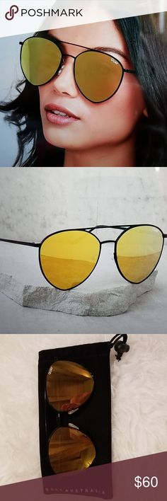 515c891503 Quay Indio black  gold mirror sunnies New in case pristine gold mirror  black aviator