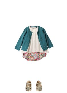 Bonpoint Summer 2015: blue cardigan, milk white blouse, turquoise liberty bloomers and gold Babycat shoes.
