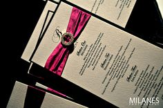 Hot #pink #white, and #black #wedding #invitations