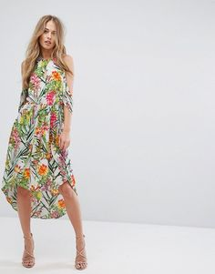 ADELYN RAE LIANNA HI-LOW PRINTED COLD SHOULDER DRESS - MULTI. #adelynrae #cloth #