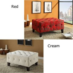 @Overstock.com - Tuffted Red / Cream Fabric Ottoman  - The incomparably chic look of this tufted ottoman upholstered in a cream or a red fabric is sure to elevate the design element in your home.  Make a statement that epitomizes sophistication and self-expression in incomparable style.  http://www.overstock.com/Home-Garden/Tuffted-Red-Cream-Fabric-Ottoman/6802029/product.html?CID=214117 $309.99