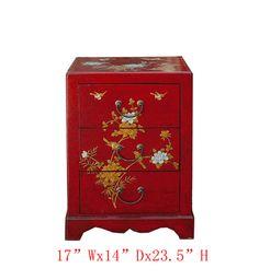 Chinese Red Leather Surface Flower Bird Motif Nightstand End Table - Golden Lotus Antiques  650-522-9888 goldenlotusinc@yahoo.com #endtable #nightstand #lamptable #livingroom #diningroom #interior #home  #furniture
