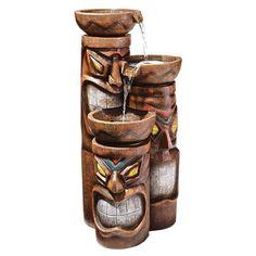 "$199.00 - Cascading Aloha Tiki"" Three-Bowl Garden Fountain"