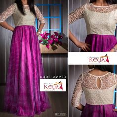 Shopzters is a South Indian wedding website Party Wear Frocks, Gown Party Wear, Long Dress Design, Dress Neck Designs, Designer Kurtis, Anita Dongre, Indian Long Frocks, Indian Long Dress, Indian Designer Outfits