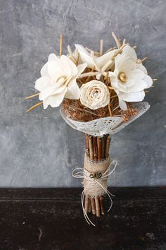 Handmade Wedding Bouquet | Alternative Wedding Bouquet | Dried Grass, Paper & Fossilized Leaves | on Etsy, $100.00