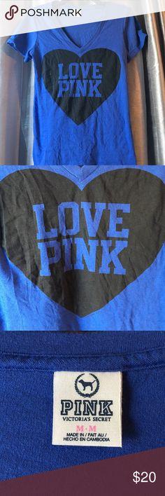 Cute PINK T-Shirt Blue PINK t-shirt. Was too big. PINK Victoria's Secret Tops Tees - Short Sleeve