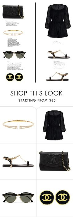 """""""Zimmerman Playsuit"""" by totalteenagenobody ❤ liked on Polyvore featuring Nadri, Zimmermann, Ancient Greek Sandals, Chanel and Ray-Ban"""