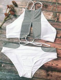 SHARE & Get it FREE   Stripe High Neck Cutout Bikini - WhiteFor Fashion Lovers only:80,000+ Items • New Arrivals Daily Join Zaful: Get YOUR $50 NOW!