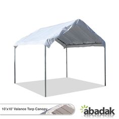 The 10' x 10' Canopy With Valance Tarp Top is a complete canopy set. With its waterproof, weather resistant and super heat resistant top, you can be sure that your belongings are kept dry from the rain and protected from UV rays coming from the sun. This product comes with a warranty of 5 years (on acts of erosions for tarp top and frame). Choose these high quality 10' x 10' Canopies With Valance Tarp Top for your outdoor shelter needs.