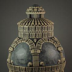 """Est Finis Omnium - End of All Things"" - detail Andrew Tarrant - Trespasser Ceramics Earthenware, Carving, Pottery, Ceramics, Christmas Ornaments, Detail, Holiday Decor, Unique, Artwork"