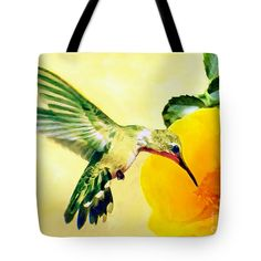 "Hummingbird and California Poppy Tote Bag 18"" x 18"" by  Dr Bob and Nadine Johnston"