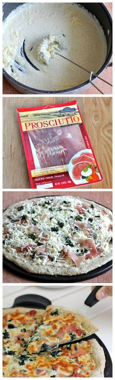 Spinach Prosciutto Alfredo Pizza - A fancy, schmancy pizza that's actually so easy to make right at home!