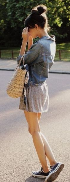 denim shirt + grey skirt                                                                             Source