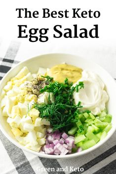 The Best Keto Egg Salad This delicious keto egg salad is creamy and velvety, with a zippy mustard dressing and crunchy celery. It's easy to pack for lunch, ideal to batch cook for meal prep, and it's one of those rare dairy-free, vegetarian keto recipes. Salad Recipes, Diet Recipes, Healthy Recipes, Egg Recipes, Dairy Free Keto Recipes, Celery Recipes, Gluten Free, Recipes Dinner, Keto Veggie Recipes
