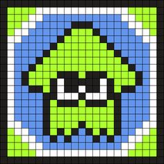 Splatoon Squid Ling Green Coaster Perler Bead Pattern / Bead Sprite