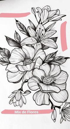 Flowers drawing design pattern tattoo ideas 16 Ideas for 2019 Rose Tattoos, Flower Tattoos, Black Tattoos, Tattoo Floral, Tattoo Roses, Lotus Tattoo, Art Floral, Floral Design, Floral Prints