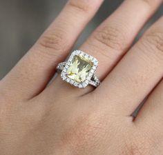 Fancy Yellow Radiant Cut Sapphire Diamond Halo Split Shank Ring in 14K White Gold