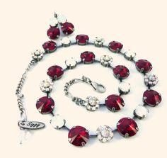 RED VELVET Swarovski crystal necklace 12mm / 8mm by SiggyJewelry