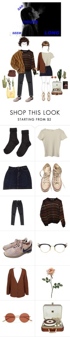 """sad hours seem long"" by electrasighs ❤ liked on Polyvore featuring American Apparel, Converse, Reyes, INDIE HAIR, NIKE, Thom Browne, Insight 51, Oliver Peoples, RCA and vintage"