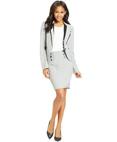 Bcx Juniors Piped Blazer On Pencil Skirt Ons Interview Skirts