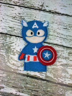 Captain America Avengers Finger Puppet Quiet by RosieKEmbroidery Felt Puppets, Felt Finger Puppets, Children's Toys, Kids Toys, Toddler Travel Activities, Traditional Toys, Felt Projects, Imaginative Play, Captain America