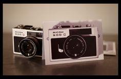 POP ART VINTAGE CAMERAS RICOH 500G GREETING CARD 6X4 INCH BEAUTIFUL MEMORIES ANTONY NOBILO