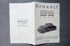 Renault CABRIOLETS  DECAPOTABLES GRAND SPORT 1936 | Collections, Objets publicitaires, Publicités papier | eBay!