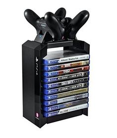 Official Sony PS4 Games Tower & Dual Charger | PS4 Chargers | Yellow Bulldog