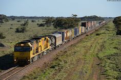 Australia - Freight train 6025 and 6022 near Pt Germein with 7PM1 by VRfan, via Flickr