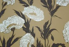 Poppy Wallpaper Large poppy design wallpaper in black white and gold on manila background